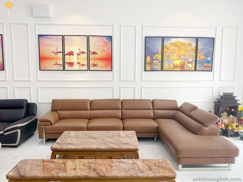 Bàn ghế sofa da phòng khách da thật - da công nghiệp