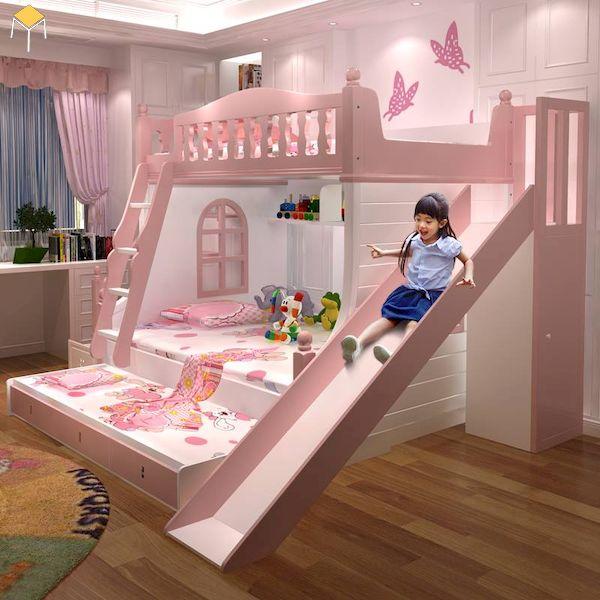 giường tầng có cầu trượt cho bé gái