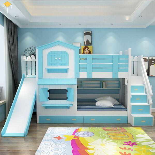 giường tầng có cầu trượt cho bé trai