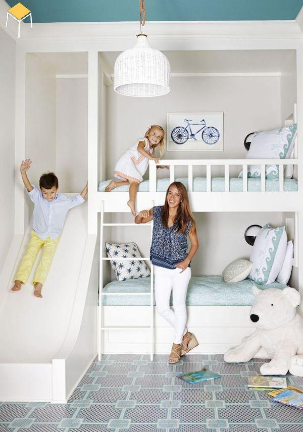 giường tầng có cầu trượt cho 2 bé