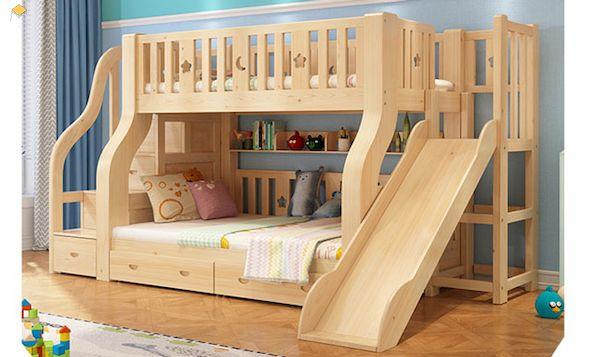 Mẫu giường tầng có cầu trượt gỗ tự nhiên