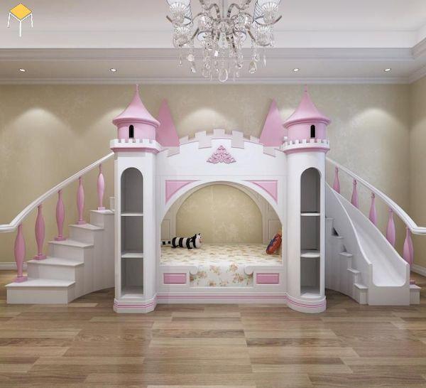 Mẫu giường tầng có cầu trượt cho phòng ngủ rộng