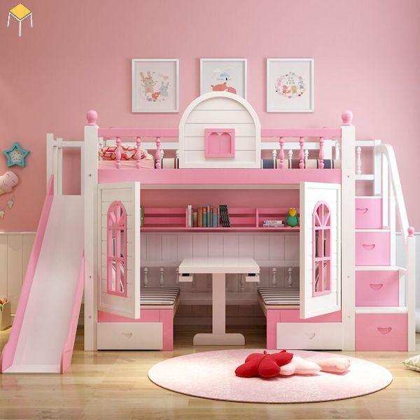 Mẫu giường tầng kết hợp cầu trượt cho bé gái
