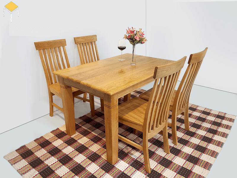 bàn ăn gỗ sồi 4 ghế cho không gian nhỏ