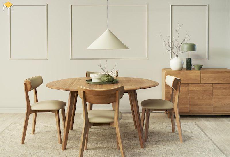 Xu hướng sử dụng bàn ăn gỗ tự nhiên sồi 4 ghế cho gia đình trẻ