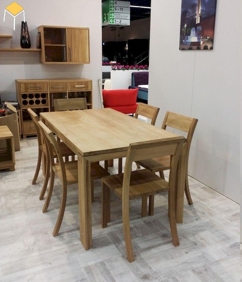 Mẫu bàn ăn gỗ sồi 6 ghế cho gia đình