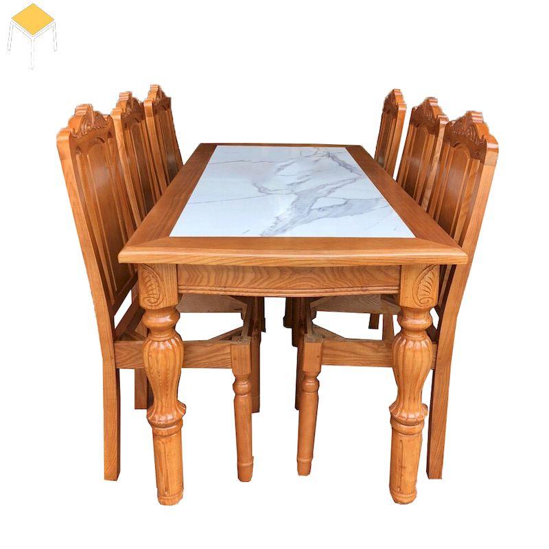 Mẫu bàn ăn gỗ sồi 6 ghế mặt đá