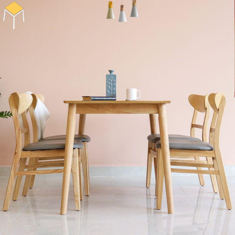 Mẫu bàn ăn gỗ sồi 6 ghế đệm bọc da