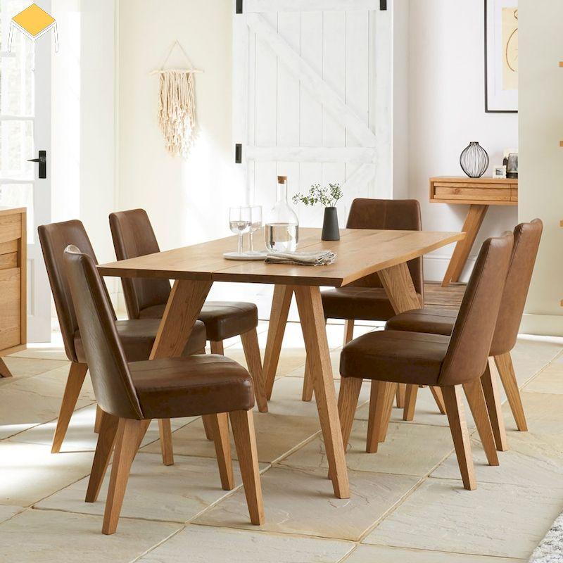 Bàn ghế ăn gỗ sồi sang trọng hiện đại