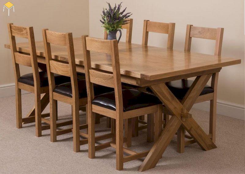 Bàn ăn gỗ sồi 6 ghế chữ nhật