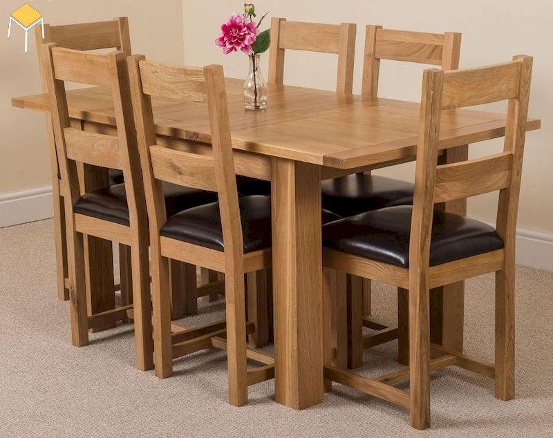 Ghế gỗ sồi kết hợp đệm bọc da