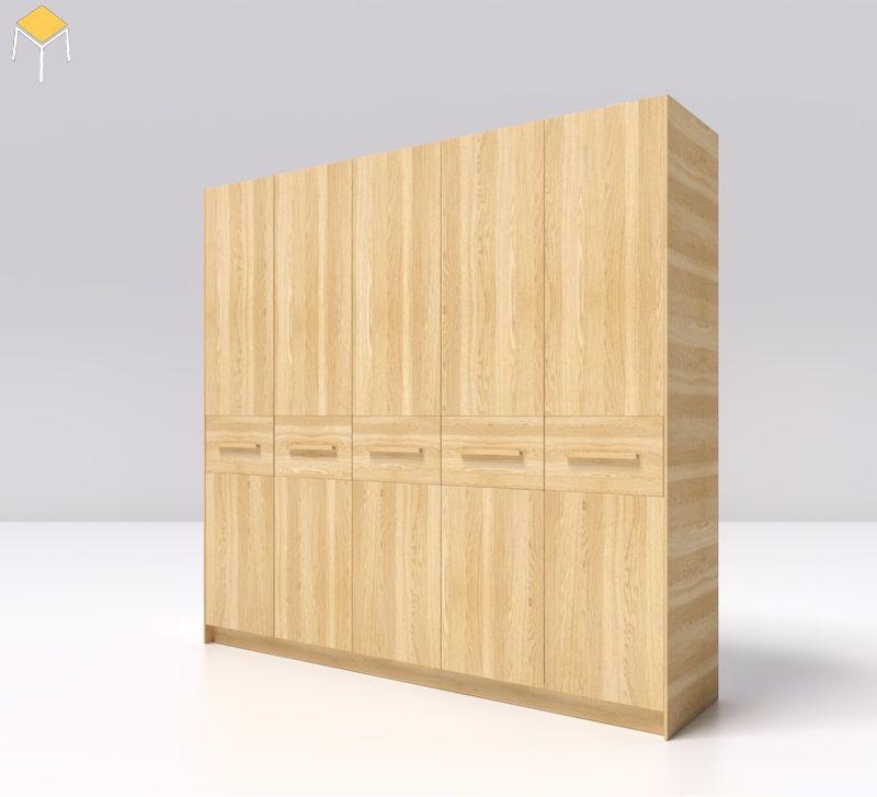 Tủ quần áo gỗ sồi 5 cánh đơn giản