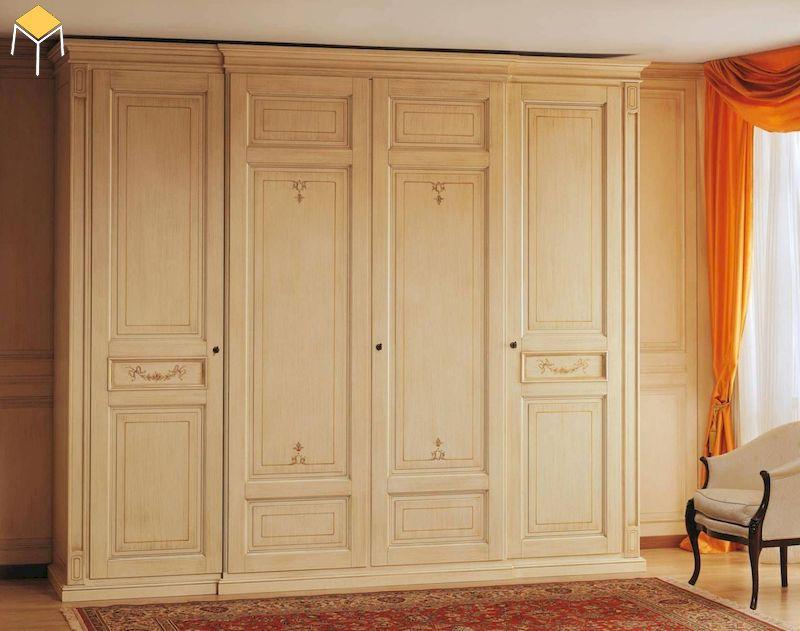 Tủ quần áo gỗ sồi sơn màu kem