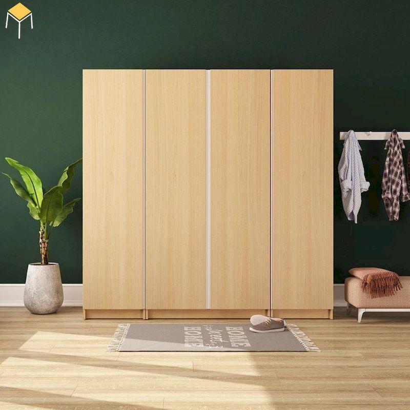 Tủ quần áo gỗ sồi đơn giản hiện đại