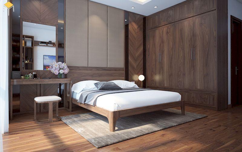 Phòng ngủ gỗ óc chó - Tủ quần áo gỗ tự nhiên 4 cánh sang trọng