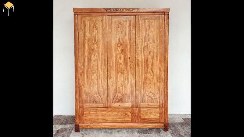 Tủ quần áo gỗ tự nhiên 3 cánh cửa mở