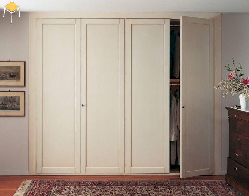 Tủ quần áo gỗ tự nhiên sồi sơn màu kem 4 cánh cửa mở