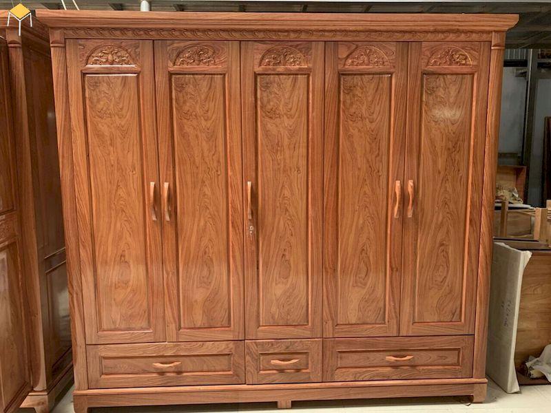 Mẫu tủ quần áo 5 cánh gỗ tự nhiên