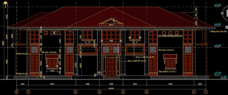 Hồ sơ kiến trúc biệt thự file Cad 3