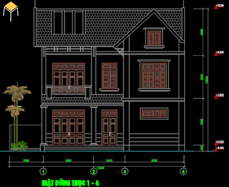 Hồ sơ kiến trúc biệt thự 2 tầng file Cad
