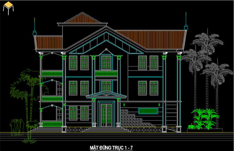 Hồ sơ kiến trúc biệt thự file Cad - biệt thự 3 tầng