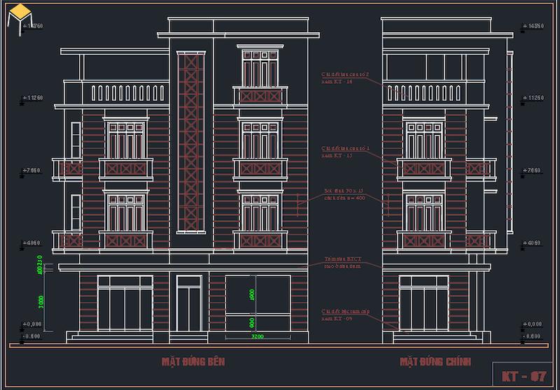 Hồ sơ kiến trúc biệt thự file cad 4 tầng