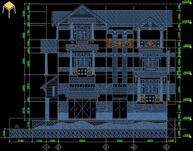 Hồ sơ kiến trúc biệt thự file cad 5 tầng - biệt thự 5 tầng