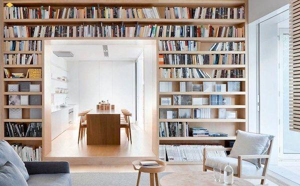 Những mẫu kệ sách âm tường đẹp cho phòng khách