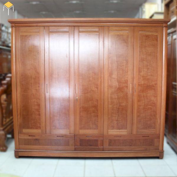 Mẫu tủ quần áo gỗ tự nhiên 5 cánh đẹp, bán chạy nhất 2021