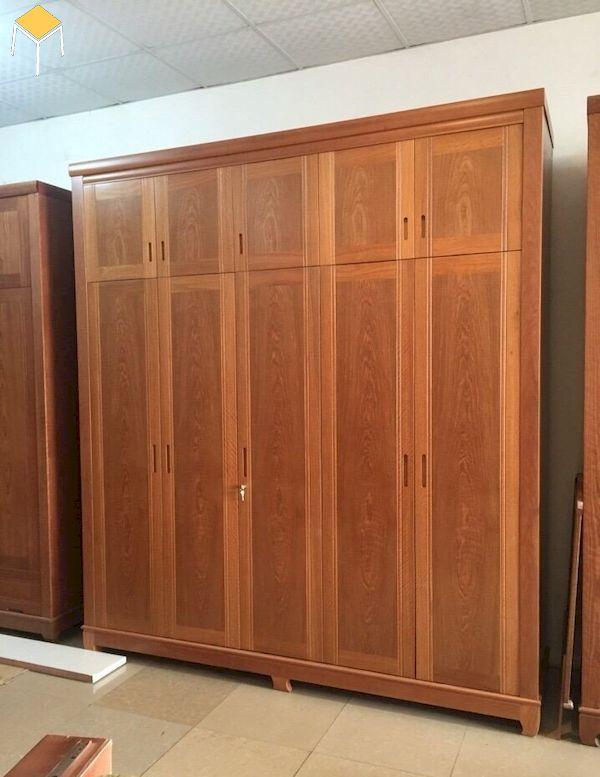 Mẫu tủ quần áo 5 cánh hiện đại gỗ tự nhiên