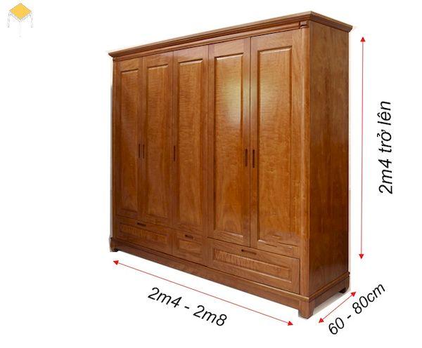 kích thước mẫu tủ quần áo gỗ tự nhiên 5 cánh
