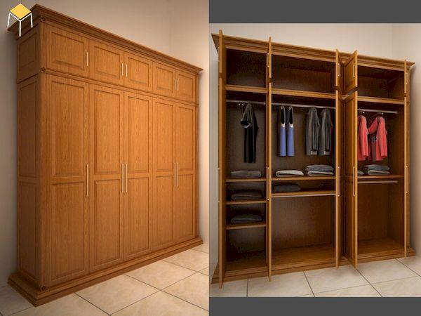 Mẫu tủ quần áo 5 cánh 3 buồng gỗ tự nhiên