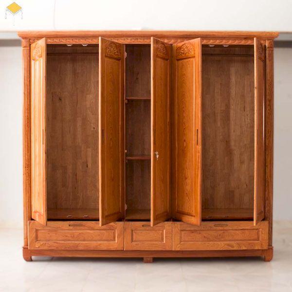 Mẫu tủ quần áo gỗ tự nhiên 5 cánh 3 buồng đẹp