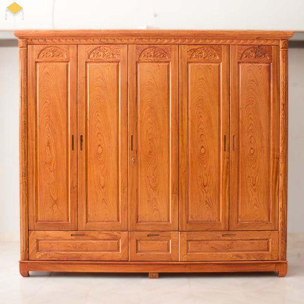 Mẫu tủ quần áo gỗ tự nhiên 5 cánh gỗ xoan đào