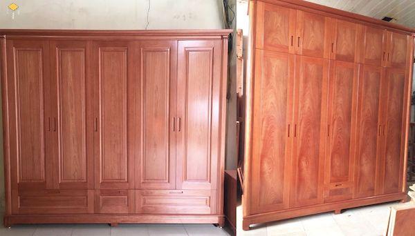 So sánh mẫu tủ quần áo 5 cánh gỗ tự nhiên và gỗ công nghiệp