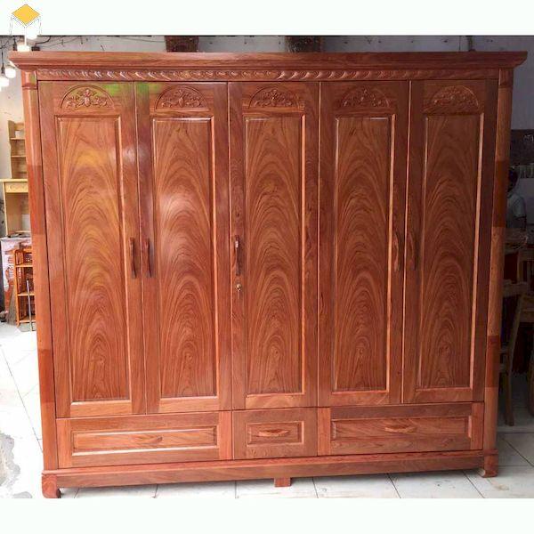Mẫu tủ quần áo 5 cánh gỗ tự nhiên cao cấp