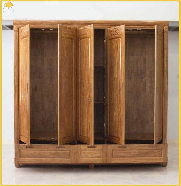Mẫu tủ áo 5 cánh 3 buồng bằng gỗ hương xám
