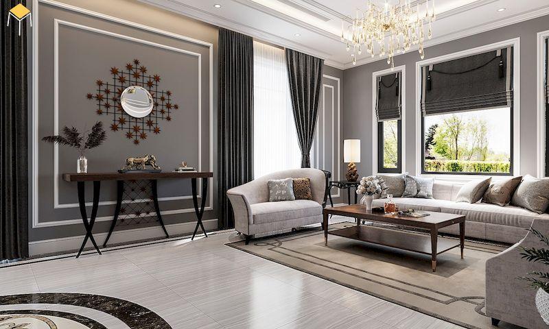 Trang trí phòng khách tân cổ điển với phào chỉ tường trần đẹp
