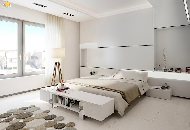 Mẫu phòng ngủ đẹp cho nữ màu trắn