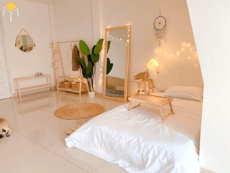Phòng ngủ đẹp cho nữ màu trắng phong cách Hàn Quốc