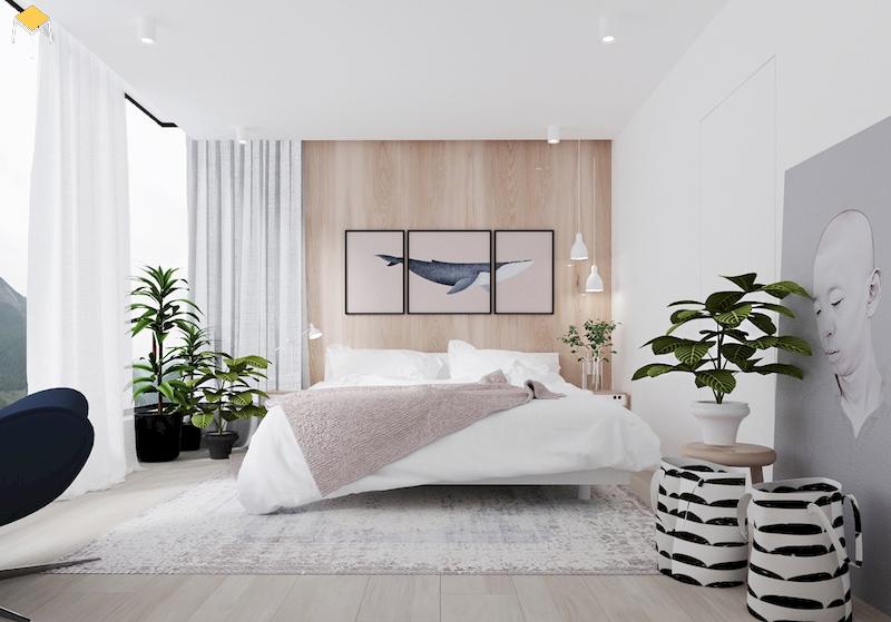 Phòng ngủ đẹp cho nữ màu trắng
