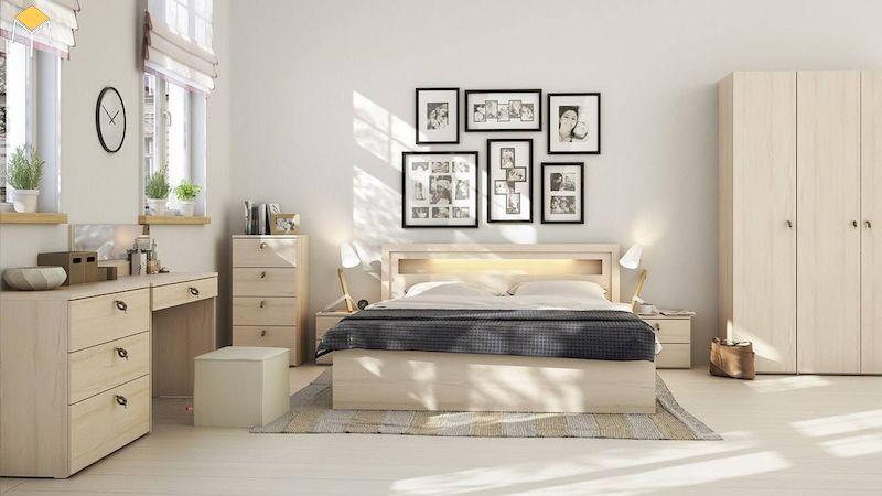 Phòng ngủ đẹp cho nữ màu trắng gỗ sồi