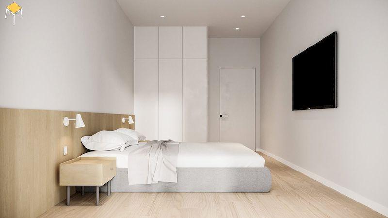 Mẫu phòng ngủ đẹp cho nữ màu trắng phong cách tối giản