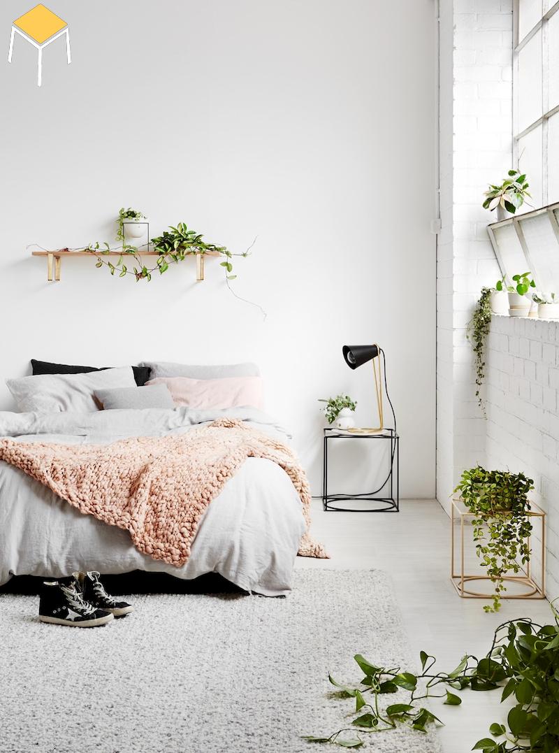 Trang trí phòng ngủ đẹp cho nữ màu trắng với cây xanh