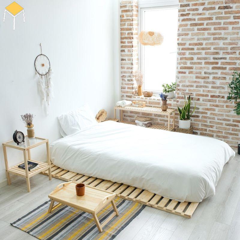 Trang trí phòng ngủ đẹp cho nữ màu trắng không giường