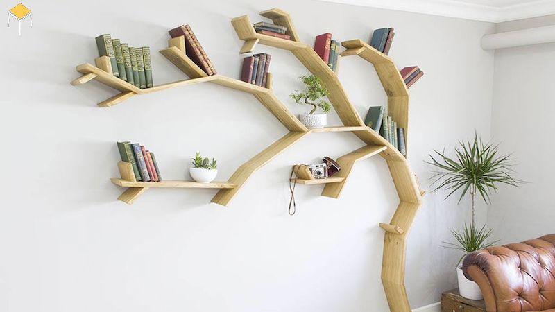 Trang trí kệ sách treo tường