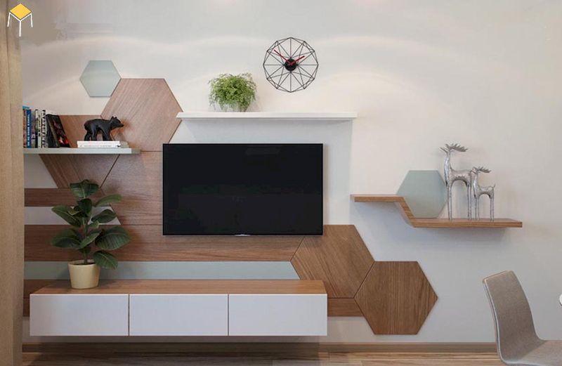 Trang trí kệ tivi phòng khách đẹp, sáng tạo
