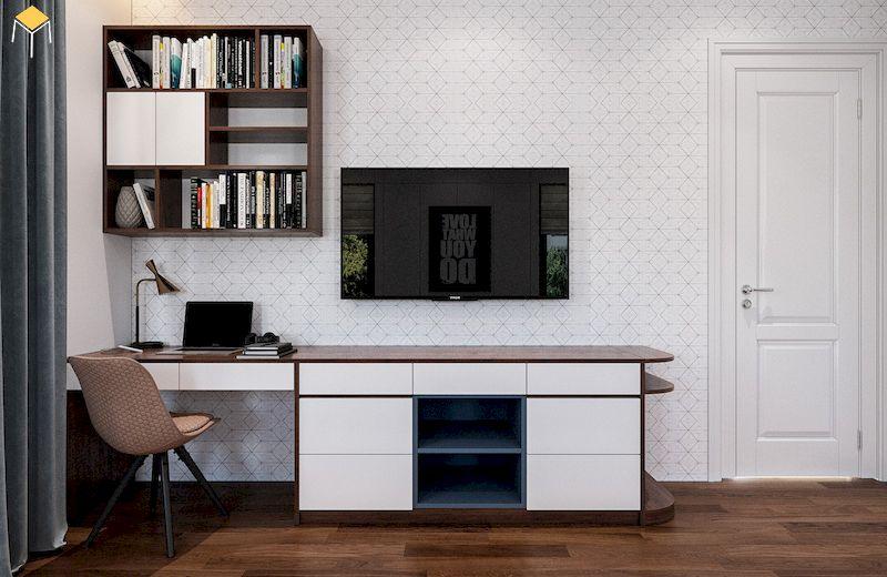 Kệ tivi kết hợp bàn học cho phòng ngủ