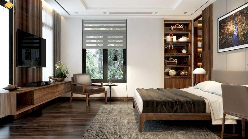 Trang trí kệ tivi phòng ngủ đẹp gỗ tự nhiên