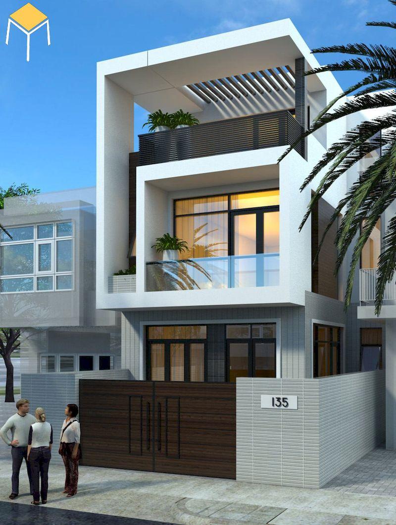 Trang trí mặt tiền nhà phố 3 tầng đơn giản